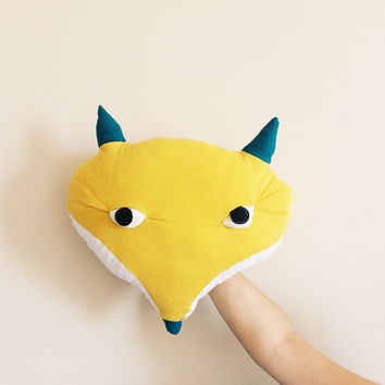 Yellow Fox Head Pillow