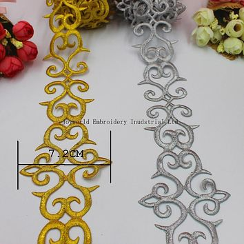 YACKALASI 1 Yards Gold Embroidered Lace Cosplay Costume Braid Appliqued Lace Iron on Ribbon 6.6cm Wide