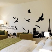 BONAMART ® Paris Eiffel Tower living room removable quote vinyl wall decals stickers XY1002