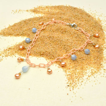 Peach Pearl Anklet