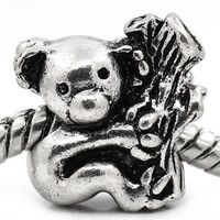 Adorable Bear Hugging Tree Authentic European Charm | Silver Toned Koala or Panda Jungle Gift Spacer Bead for Bracelet Necklace or Earrings