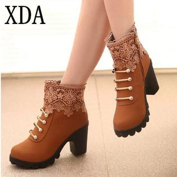 XDA 2016 New Autumn Winter Women Boots High Quality Solid Lace-up European Ladies PU L