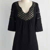 Boho Long Cover-up Houseboat Tunic in Black