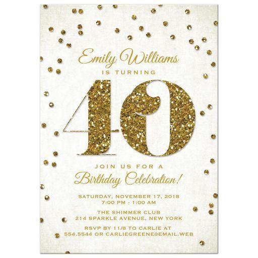 40th Birthday Party Invitations Gold From Lemon Leaf Prints