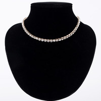 Created Diamond Rhinestone Choker Necklaces For Women Crystal Short Collare Necklace Jewelry Accessories Collares Collier N0200