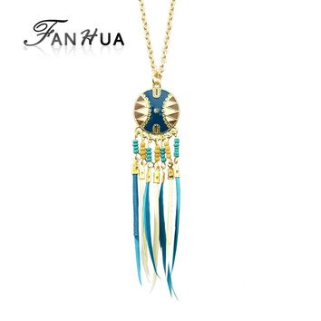 FANHUA Brand Fashion Indian Jewelry Long Boho Necklace Gold-Color Chain with Colorful Feather Tassel Pendant Female Necklace