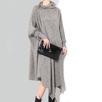 Asymmetric Knitted Sweater Dress For Women Turtleneck Big Size Batwing Sleeve Pleated Midi Dresses Female Knitting Tide