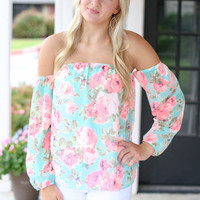 Off the Shoulder Floral Top - Mint