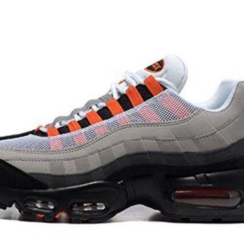 Mens Air Max 95 Essential Leather Trainers Running Sneaker White/Solar Red-Neutral Grey-Medium Grey 12 D(M) US=46EU