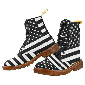 Black And White American Flag Lace Up Martin Boots for Women