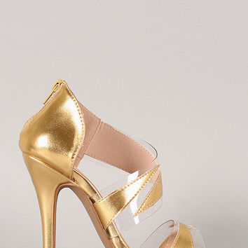 Liliana Metallic Lucite Open Toe Dress Heel