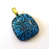 Blue Pendant, Dichroic Omega Slide, Geometric Jewelry, Dichroic Blue Jewelry - Dimples - 3054 -1