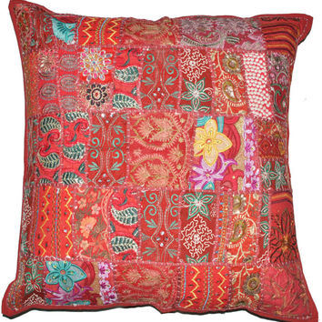 "24x24"" Vintage Bohemian Indian throw Pillow, gypsy throw pillow for couch bohemian patchwork pillow ethnic indian pillow decorative pillow"