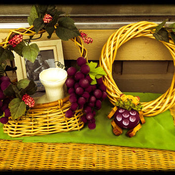 Handmade grape floral  arrangement in wicker gift basket . Including vase, frame, wicker wreath , basket of grape decor and matching bear