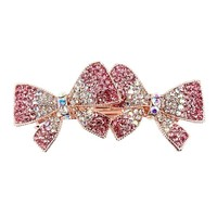 Multicolor Crystal Rhinestones Double Bowknot Bow Hair Clips Barrette Hairpin Hair Accessories for Girls
