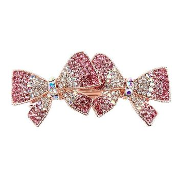 Multi-colors Crystal Rhinestones Double Bowknot Bow Hair Clips Barrette Hairpins Hair Accessories for Girls