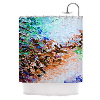 "Ebi Emporium ""Winter Retreat"" Brown Teal Shower Curtain"