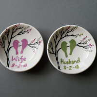 Two Hand painted Wedding Rings Pillows Alternative , Wedding Ring Dish Pink an green birds on branch wife and husband