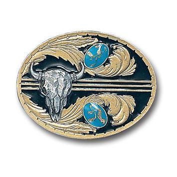 Sports Accessories - Stones with Buffalo Skull Vivatone Belt Buckle