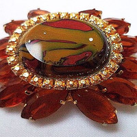 "Designer Art Glass Brooch PIn Root Beer Brown & Gold Rhinestones High Fashion Gold Metal 2"" Vintage"