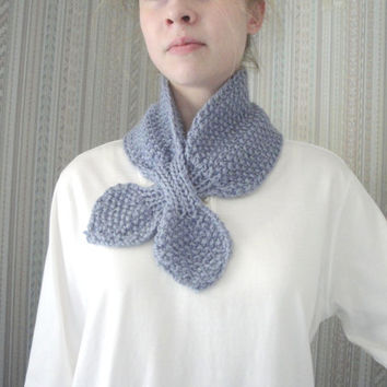 Alpaca Ascot Scarf, Hand Knit, Neck Warmer, Luxury Scarflette