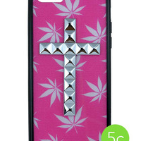 Pink Buddy Silver Cross iPhone 5c Case
