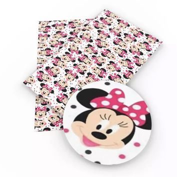 Minnie Mouse pink bow faux leather fabric sheet