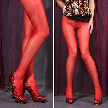 1pcs Women Sexy Sheer Oil Shiny Glossy Classic Pantyhose Thin Tights Stockings 9colors