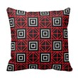 Geometric Squares Red Pillow