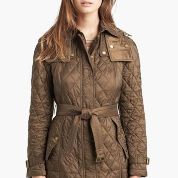 Women's Burberry Brit 'Finsbridge' Belted Quilted Jacket