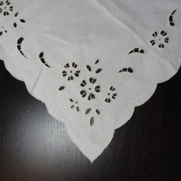 Vintage Imperial Elegance Cream Cotton Embroidered Table Runner or Dresser Scarf