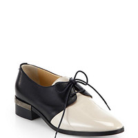 Bicolor Lace-Up Leather Oxfords