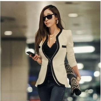 PEAPGB2 2016 Blazer Women V-Neck Sexy Slim Casual Blazer and Jackets OL Outerwear Long Sleeve Black White One Button coat feminino