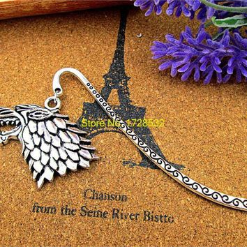 Antique silver bookmark with Game of throne Stark house sigil wolf charm