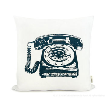 Rotary phone - Vintage 60s inspired pillow cover | Pick your Ink Color - Fabric - Size | PERSONALIZED Telephone Decorative Pillow
