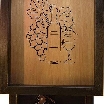 "Wooden Shadow Box Wine Cork Holder with Corkscrew 9""x15"" - Picture of Grapes Wine Bottle and Glass"