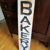 Bakery Sign - Carved in a Cypress Board Rustic Distressed Shop Advertisement Farmhouse Style Restaurant Cafe Wooden Wood