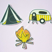 Camp Die cut 15 pcs. Camping die cut ,fire camp car paper die cuts ,making card, cut out decoration scrapbook /paper craft