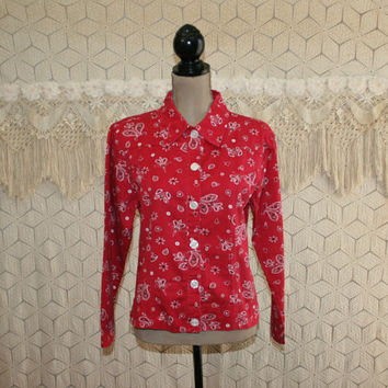 80s Womens Shirt Jacket Red Bandana Print Casual Country Western Cotton Lightweight Jacket Medium Vintage Clothing Womens Clothing