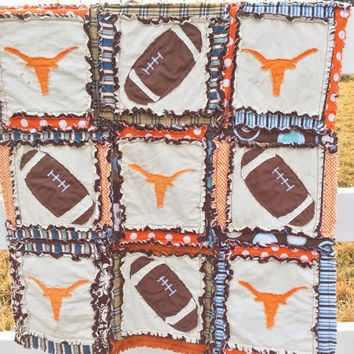 Boy RAG QUILT, Football and Longhorn Silhouette Applique, Blue and Brown, Crib Size, Made to Order
