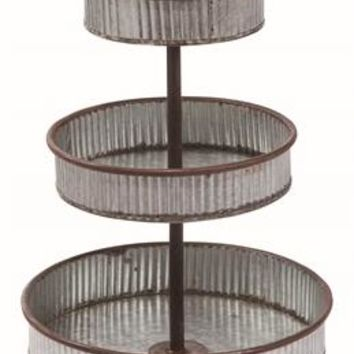 Vintage Metal Three Tiered Standing Tray -- 27-in