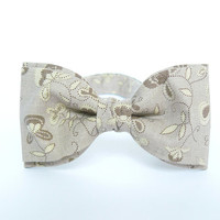 Mens bow tie by Bartek Design - groom wedding classic retro necktie chic handmade gift for him pre tied - beige flowers rustic