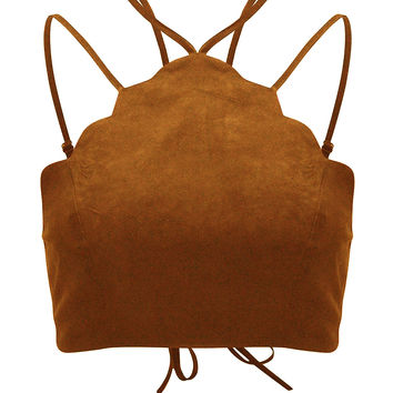 Brown Suedette Halter Lace Up Back Scalloped Trim Bralet