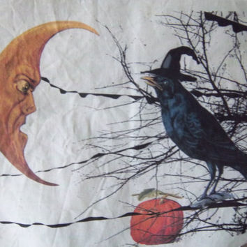 Halloween fabric block handmade sewing art journal scrapbooking supply primitve folk art moon blackbird decoration unique home decor
