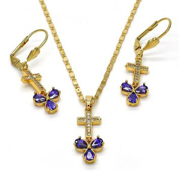 Gold Layered 10.221.0011 Necklace and Earring, Cross and Flower Design, with Amethyst Cubic Zirconia and White Micro Pave, Polished Finish, Gold Tone