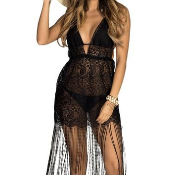 Black Lace Fringe Halter Beach Dress Cover Up