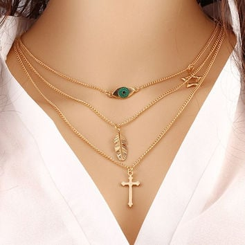 2015 Layer Fashion Multi Necklace Gold Women Vintage Jewelry Gold Chain Pentagram Cross Leaf Pendant Bib Multi-layer Necklaces (Color: Gold) = 1946956484
