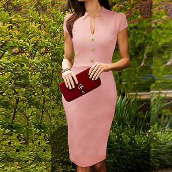 V-Neck Cut-Out Three Buttons Short Sleeve Midi Bodycon Dress