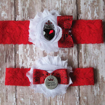 Quees of Hearts Garter Set | Alice in Wonderland Inspired Wedding Garter Set | Bridal Garter and Toss Garter
