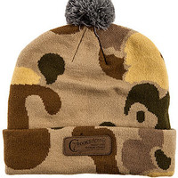 The Problem Solvers Pom Beanie in Tan Camo